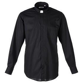 Camicia clergy In Primis elasticizzata cotone m. lunga nero s1