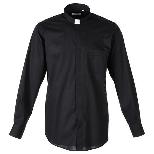 Camicia clergy In Primis elasticizzata cotone m. lunga nero 1
