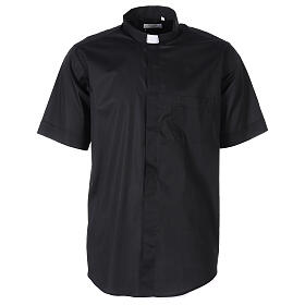 Camicia In Primis elasticizzata cotone mezza manica nero s1