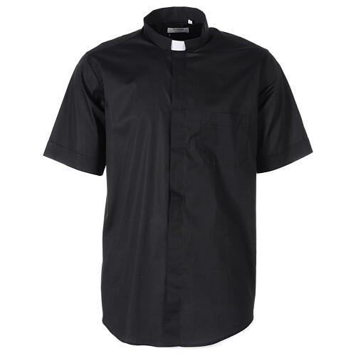 Camicia In Primis elasticizzata cotone mezza manica nero 1