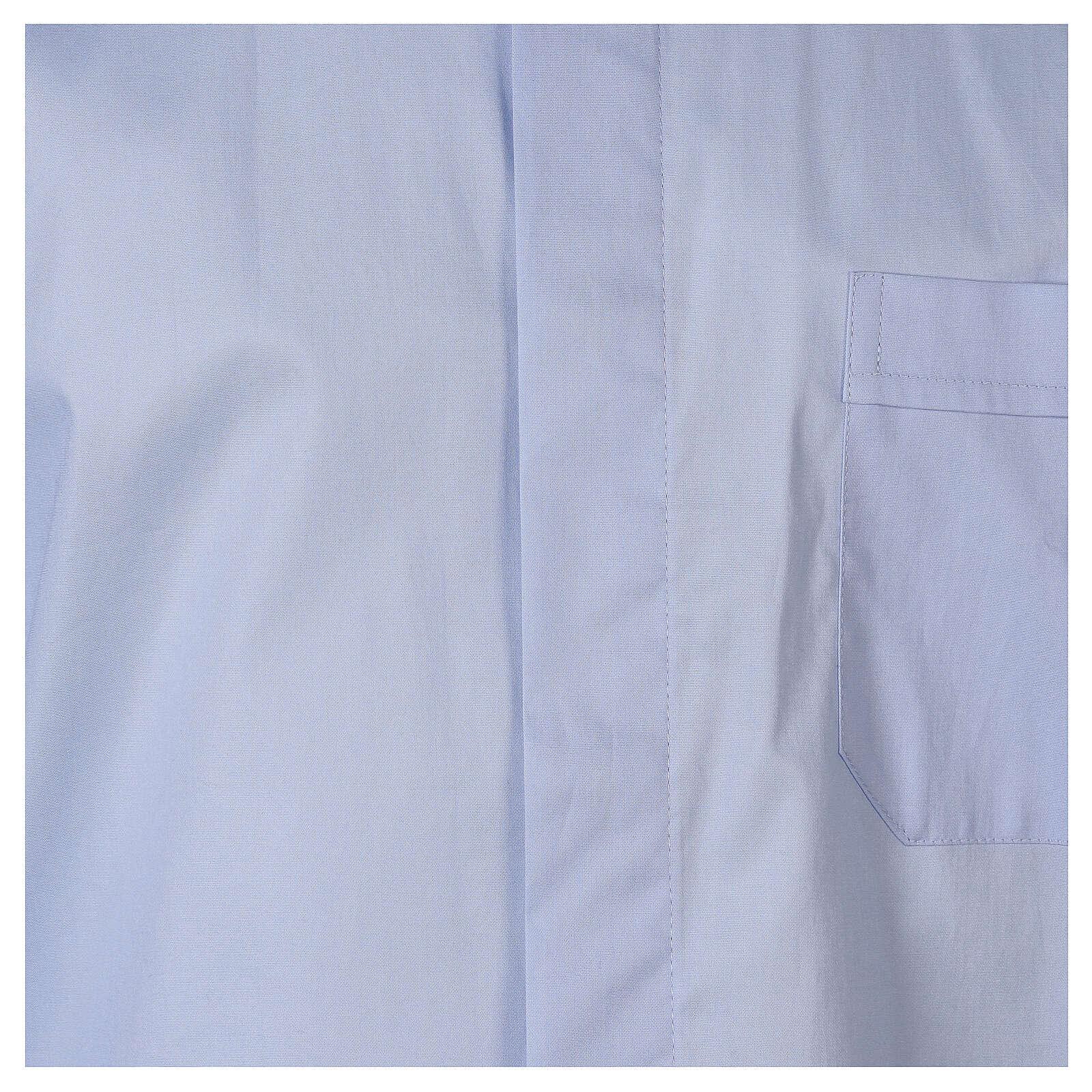 Camisa clergy In Primis elástica algodón m. larga celeste 4