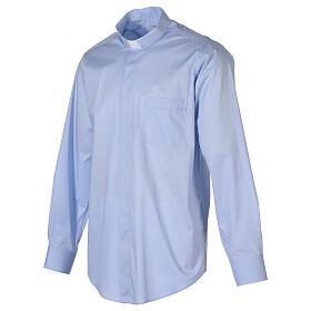 Camisa clergy In Primis elástica algodón m. larga celeste s4