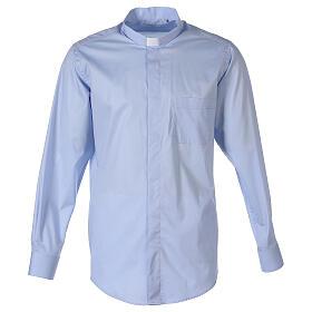 Chemise clergy In Primis élastique coton manches longues bleu clair s1