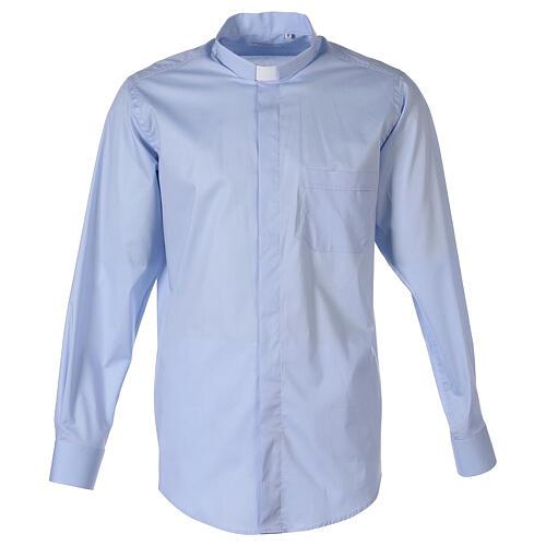 Chemise clergy In Primis élastique coton manches longues bleu clair 1