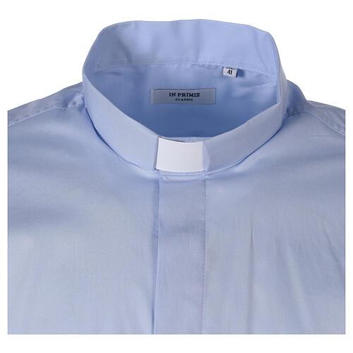 Chemise clergy In Primis élastique coton manches longues bleu clair 6