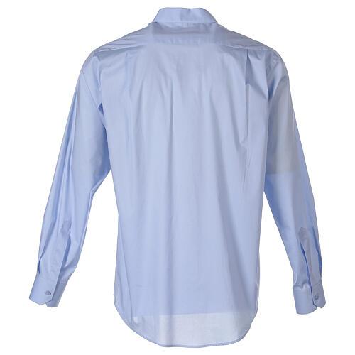Chemise clergy In Primis élastique coton manches longues bleu clair 7