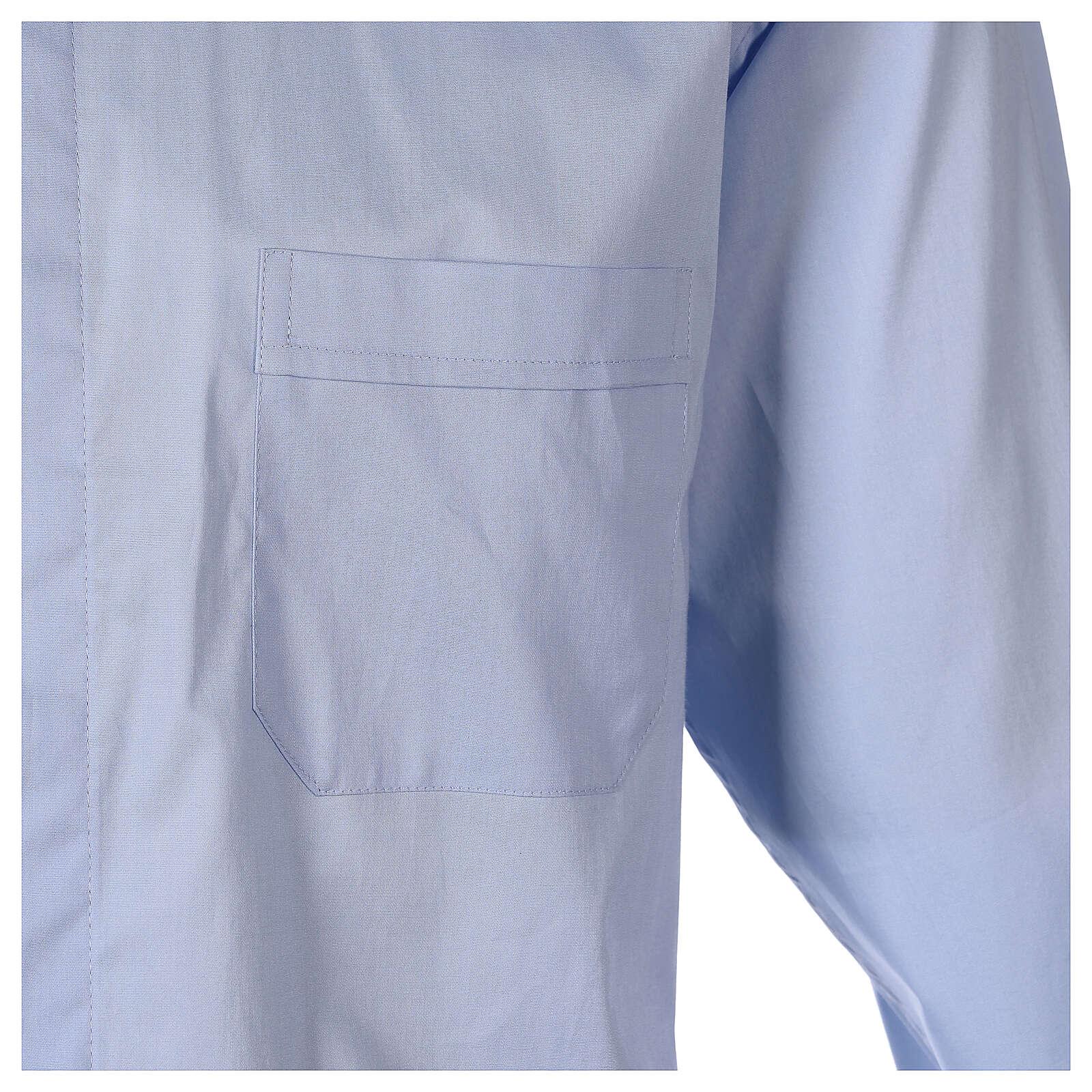 Camicia clergy In Primis elasticizzata cotone m. lunga celeste 4