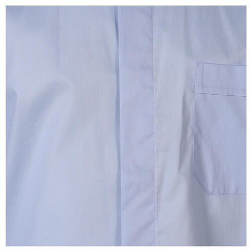 Camicia clergy In Primis elasticizzata cotone m. lunga celeste 2