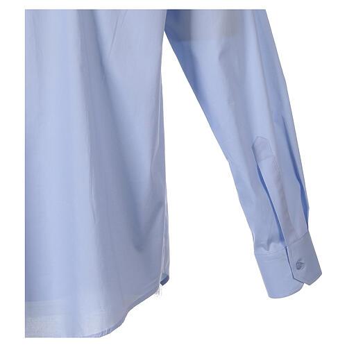Camicia clergy In Primis elasticizzata cotone m. lunga celeste 5