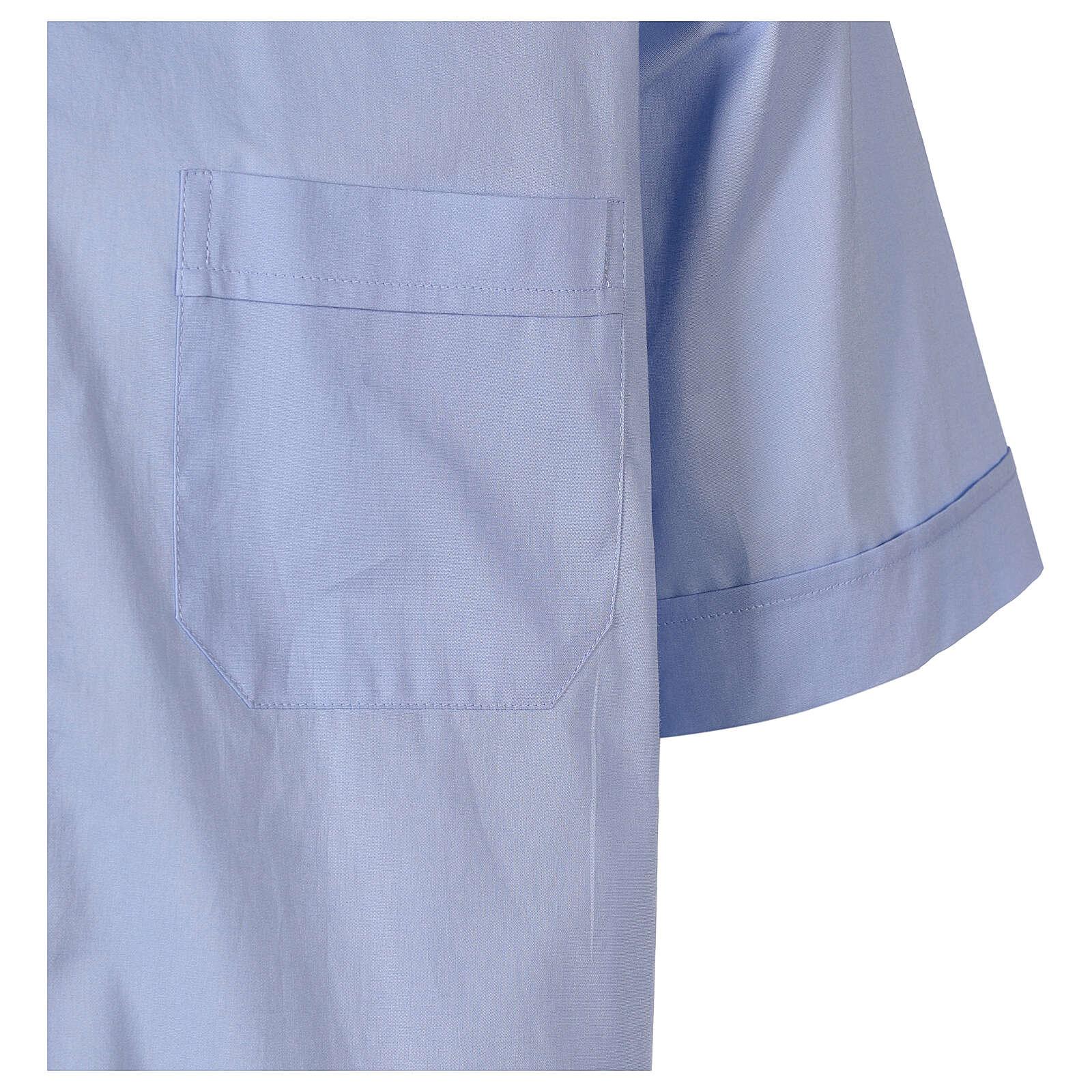 Camicia In Primis elasticizzata cotone manica corta celeste 4