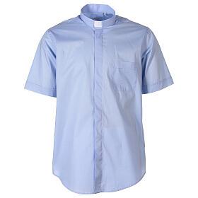 Camicia In Primis elasticizzata cotone manica corta celeste s1