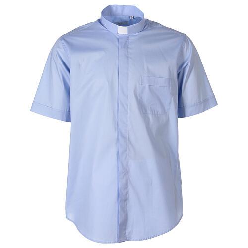 Camicia In Primis elasticizzata cotone manica corta celeste 1