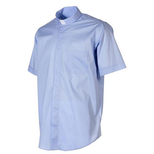 Camicia In Primis elasticizzata cotone manica corta celeste 3