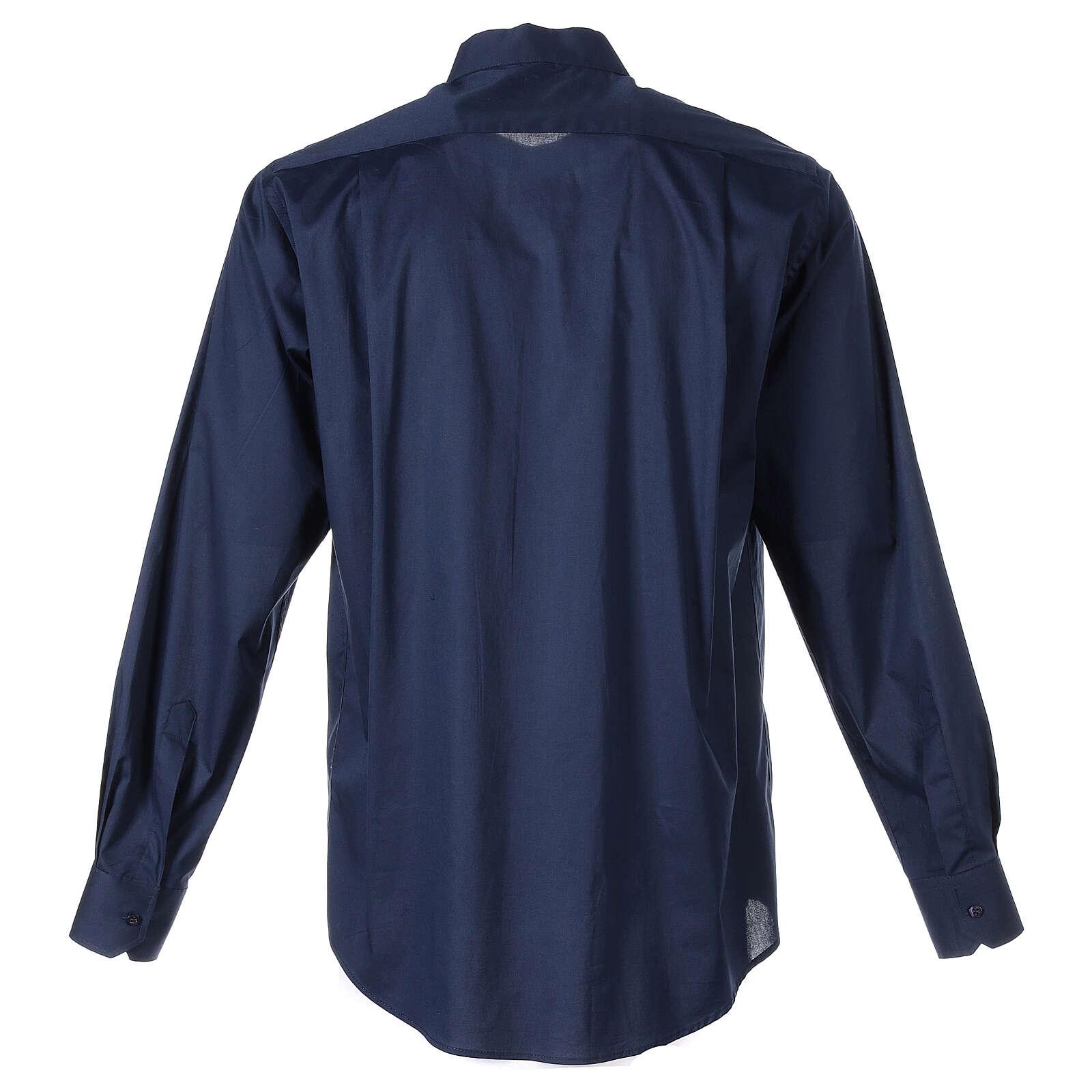 Camisa clergy In Primis elástica algodón manga larga azul 4