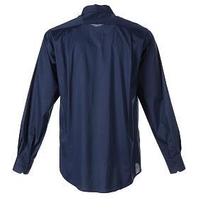 Camisa clergy In Primis elástica algodón manga larga azul s7