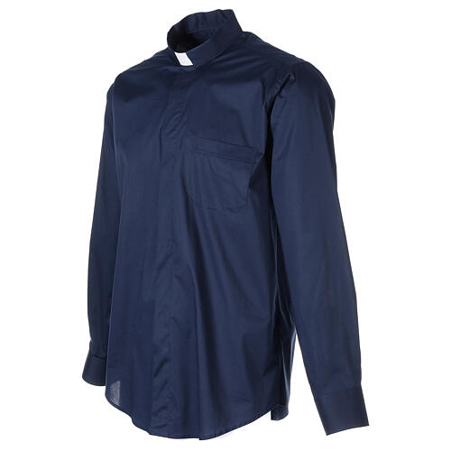 Camisa clergy In Primis elástica algodón manga larga azul 3