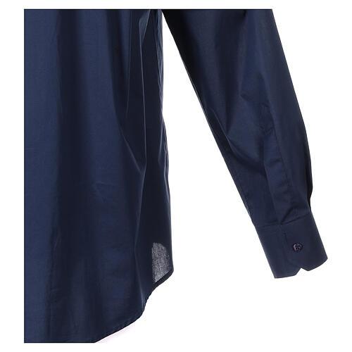 Camisa clergy In Primis elástica algodón manga larga azul 5
