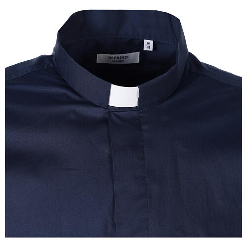 Camisa clergy In Primis elástica algodón manga larga azul 6