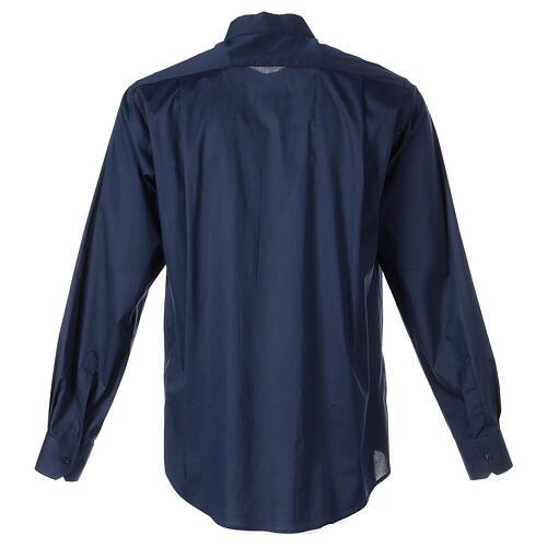 Camisa clergy In Primis elástica algodón manga larga azul 7