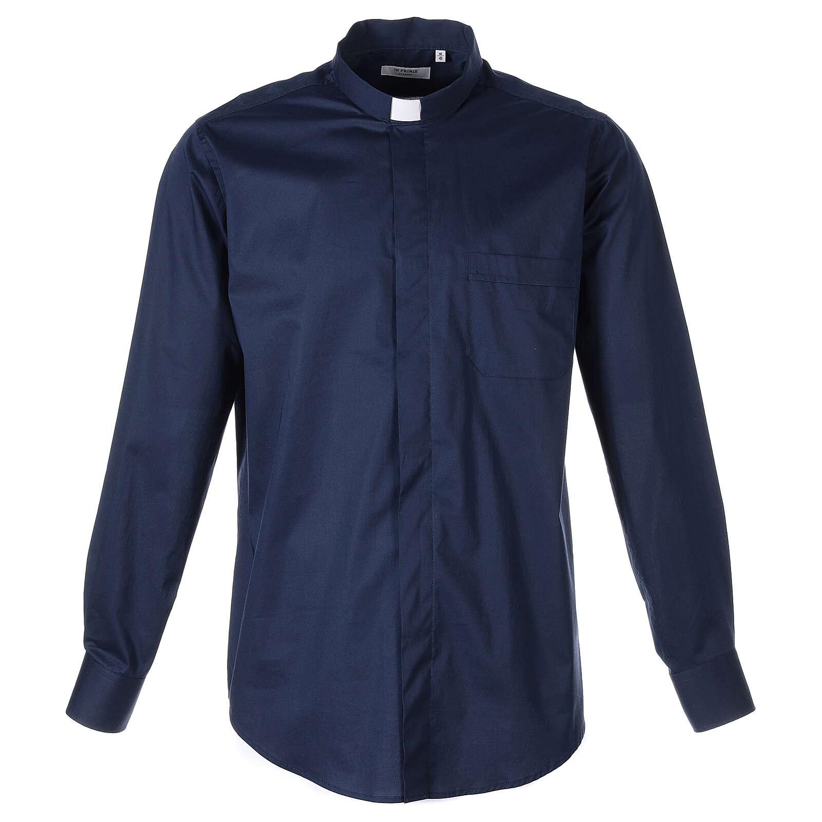 Camicia clergy In Primis elasticizzata cotone manica lunga blu 4