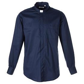 Camicia clergy In Primis elasticizzata cotone manica lunga blu s1