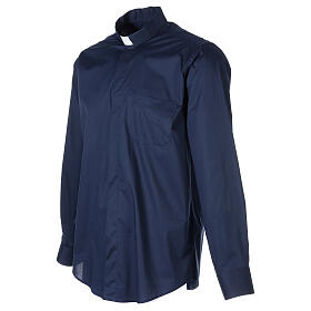 Camicia clergy In Primis elasticizzata cotone manica lunga blu s3