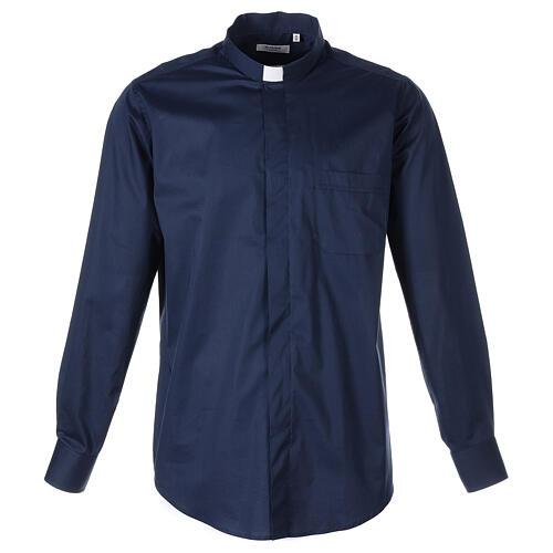 Camicia clergy In Primis elasticizzata cotone manica lunga blu 1