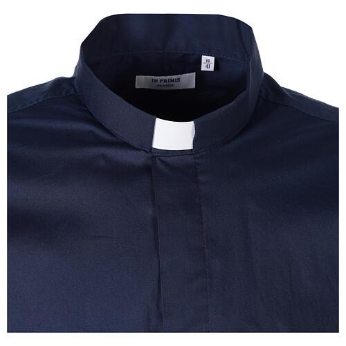 Camicia clergy In Primis elasticizzata cotone manica lunga blu 6