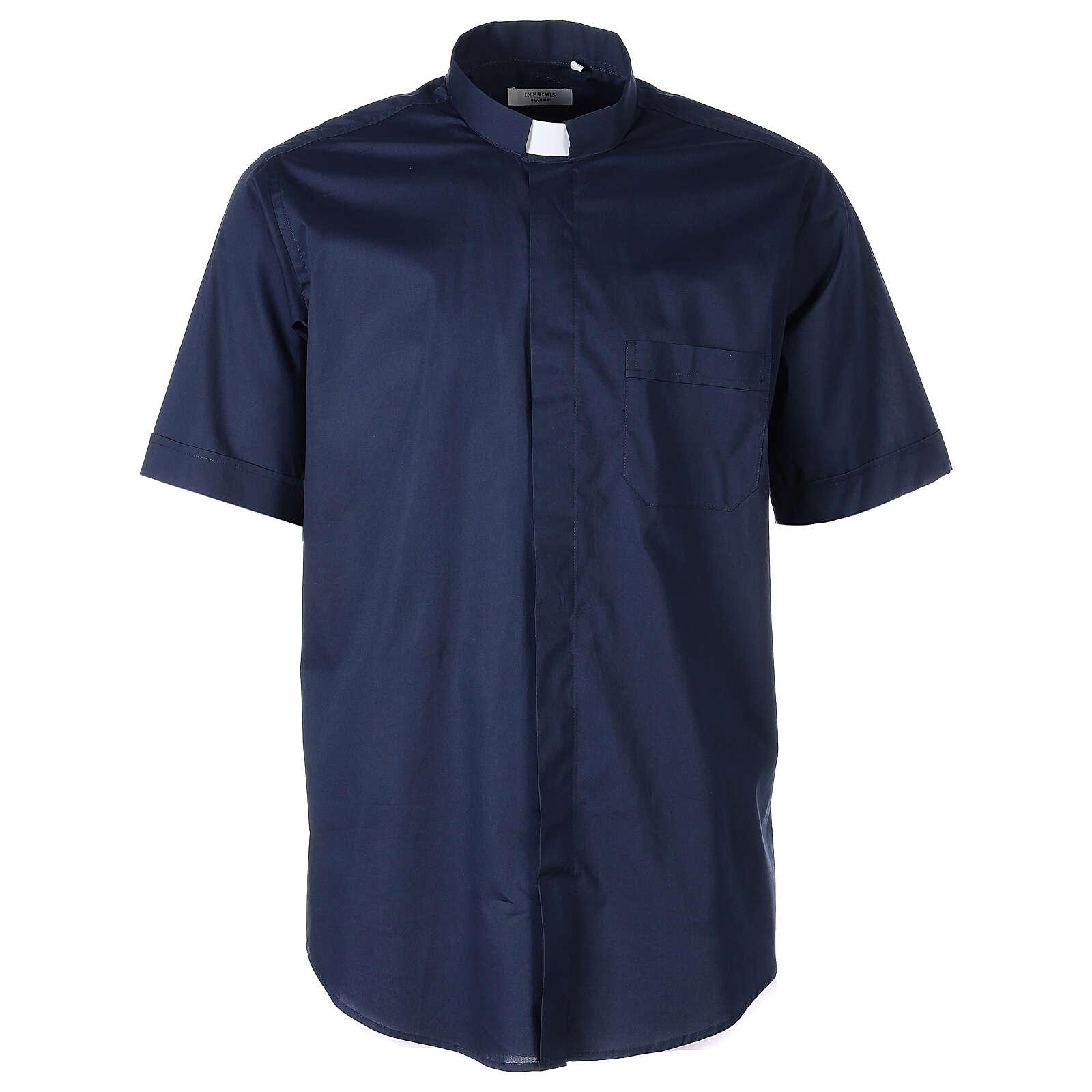 Chemise clergy In Primis élastique coton demi-manches bleue 4