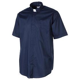 Chemise clergy In Primis élastique coton demi-manches bleue s3