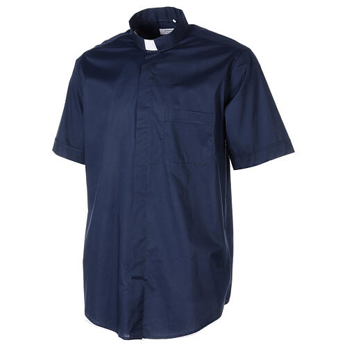 Chemise clergy In Primis élastique coton demi-manches bleue 3