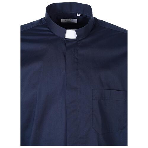 Chemise clergy In Primis élastique coton demi-manches bleue 5