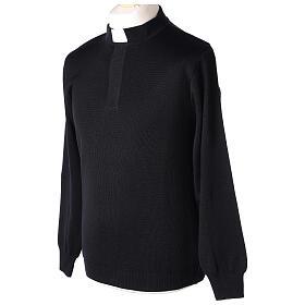Pulôver sacerdote preto 50% lã de merino 50% acrílico In Primis s3