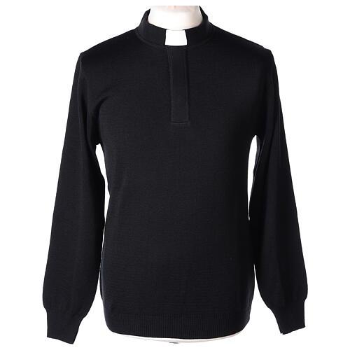 Pulôver sacerdote preto 50% lã de merino 50% acrílico In Primis 1