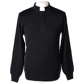 Black clergy jumper 50% merino wool 50% acrylic In Primis s1