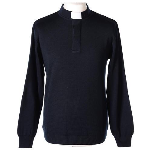 Pull clergy bleu 50% mérinos 50% acrylique In Primis 1