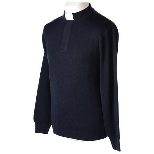 Pull clergy bleu 50% mérinos 50% acrylique In Primis 3