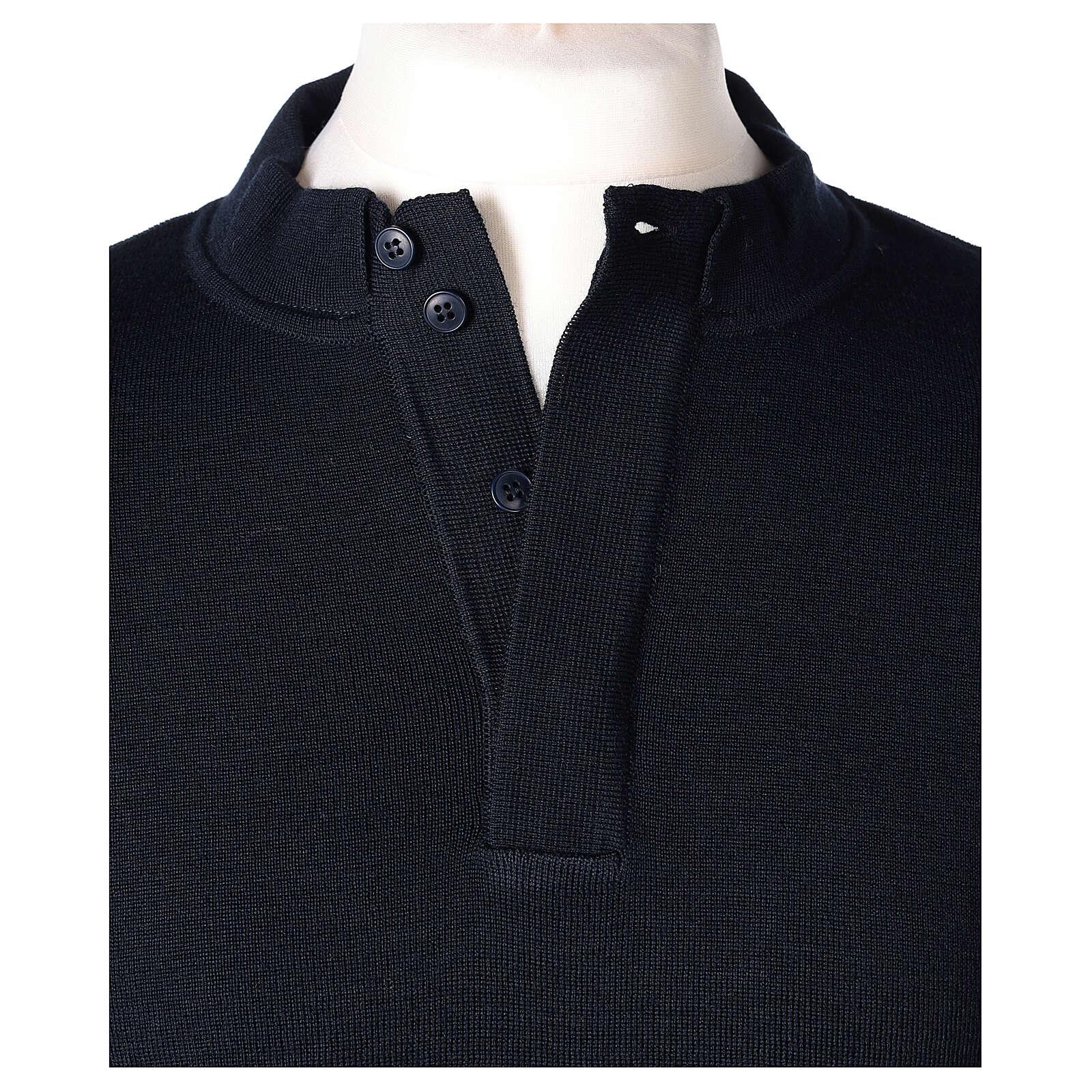 Pulôver sacerdote azul escuro 50% lã de merino 50% acrílico In Primis 4