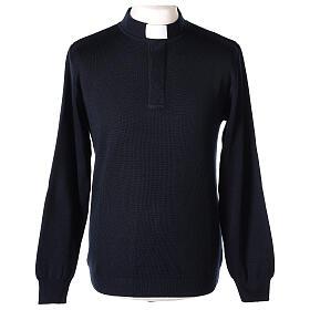 Pulôver sacerdote azul escuro 50% lã de merino 50% acrílico In Primis s1