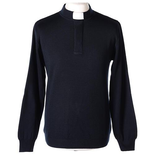 Pulôver sacerdote azul escuro 50% lã de merino 50% acrílico In Primis 1