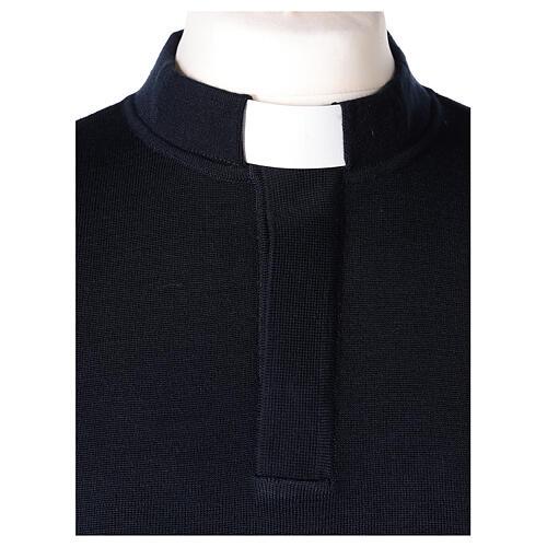 Pulôver sacerdote azul escuro 50% lã de merino 50% acrílico In Primis 2