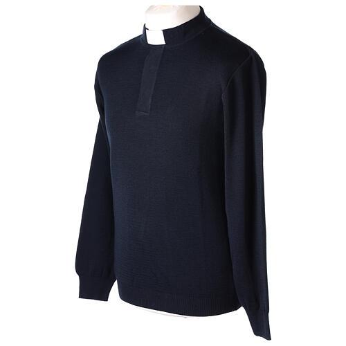 Pulôver sacerdote azul escuro 50% lã de merino 50% acrílico In Primis 3