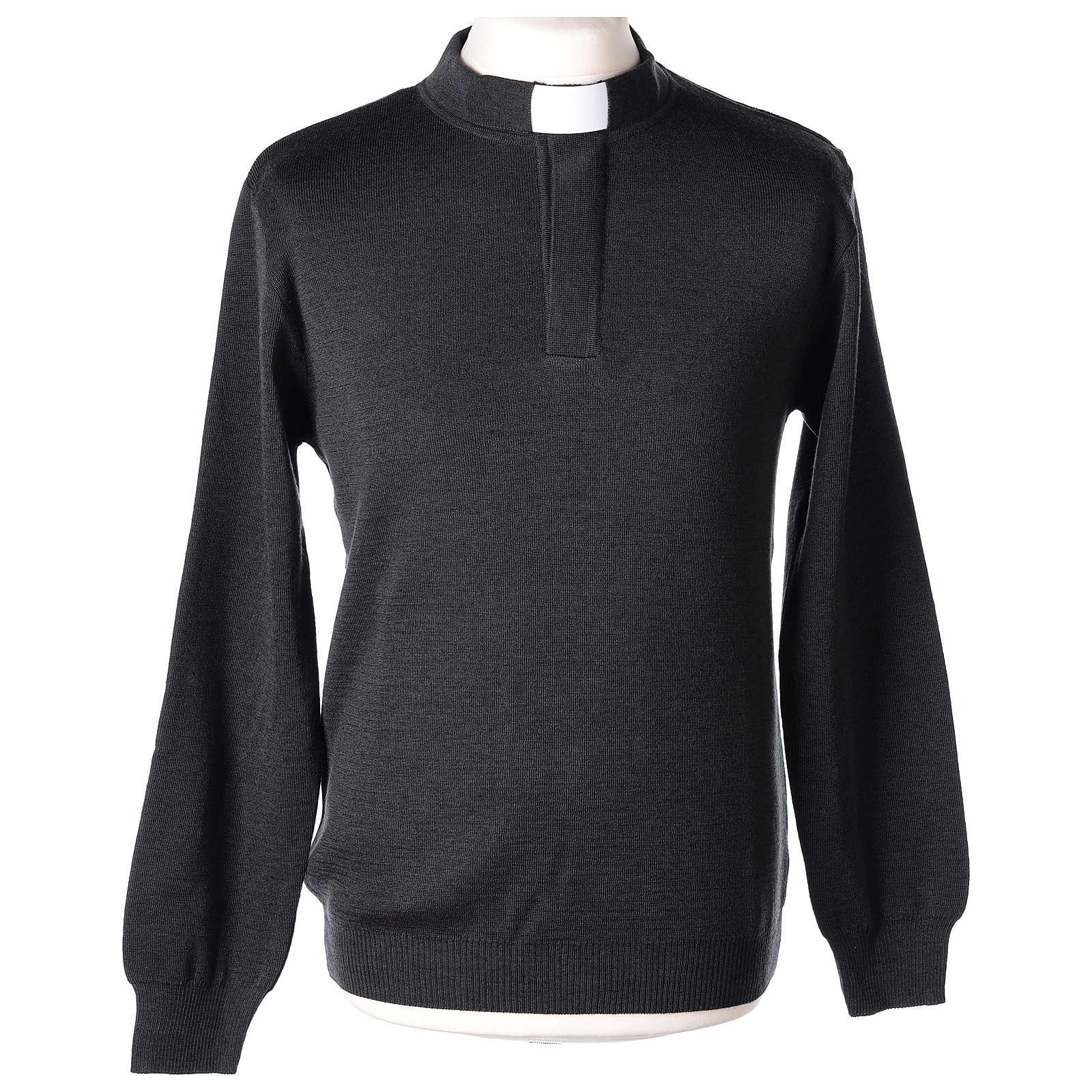 Maglioncino 50% merino 50% acrilico collo clergy antracite In Primis 4