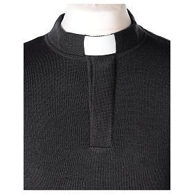 Maglioncino 50% merino 50% acrilico collo clergy antracite In Primis s2