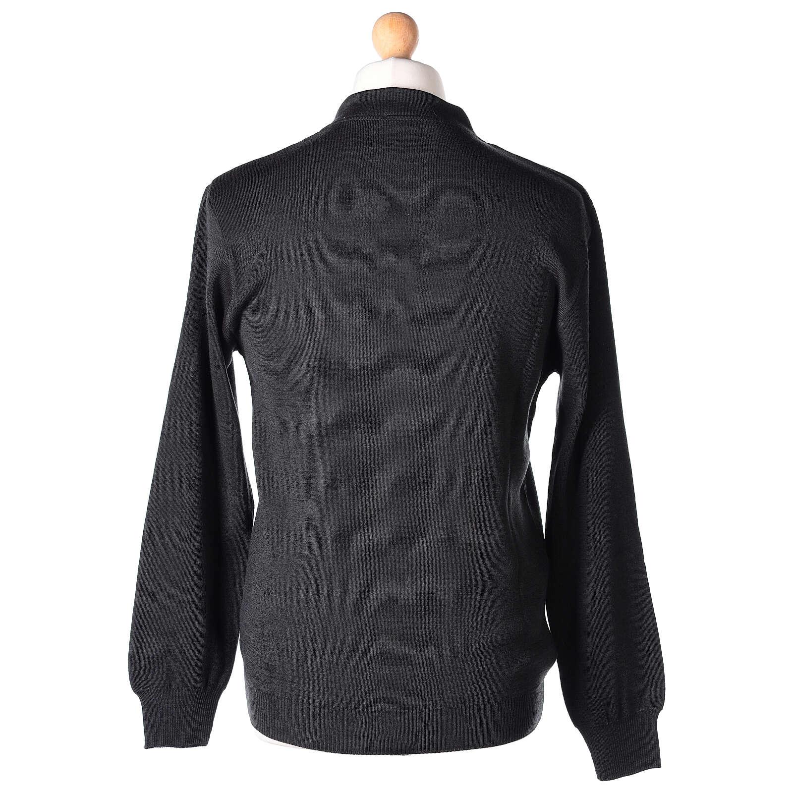 Sweter 50% merynos 50% kołnierzyk kapłański antracyt In Primis 4