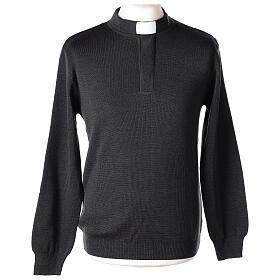 Sweter 50% merynos 50% kołnierzyk kapłański antracyt In Primis s1