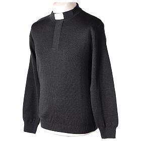 Sweter 50% merynos 50% kołnierzyk kapłański antracyt In Primis s3
