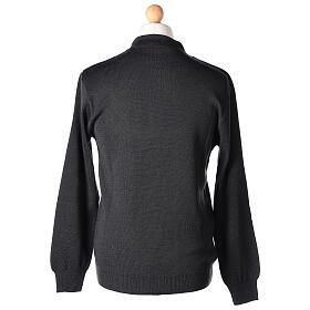 Sweter 50% merynos 50% kołnierzyk kapłański antracyt In Primis s5