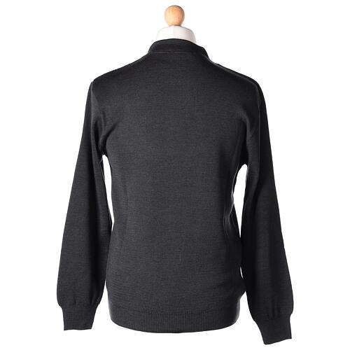 Sweter 50% merynos 50% kołnierzyk kapłański antracyt In Primis 5