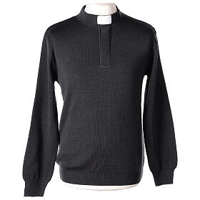 Grey clergy jumper 50% merino wool 50% acrylic In Primis s1